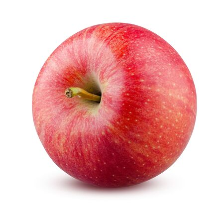 Apple Isolated. Red Apple on White Background. Highly Retouched Fruit Closeup. Full Depth of Field. Healthy Food. Bright Whole Apple, Absolute Sharpness High Resolution and Quality Image. 版權商用圖片