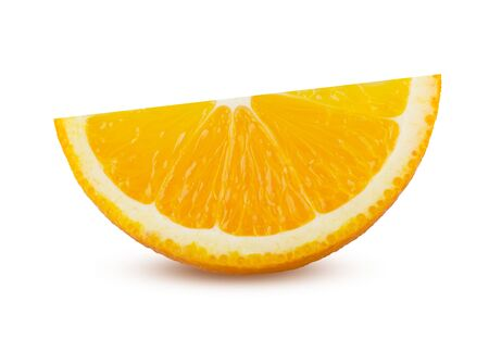 Slice of Orange Isolated. Perfectly Retouched Citrus Fruit Sliced. Orange Closeup on White Background. Full Depth of Field. Juicy Sliced Orange, Absolute Sharpness High Resolution and Quality Image. 版權商用圖片