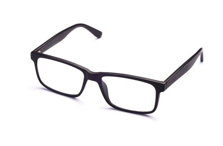 Black Eyeglasses Isolated, Close Up of Spectacles on White Background Glasses in Black Plastic Frame. Everyday or Home Accessory, Eyesight and Visual Impairment Concept