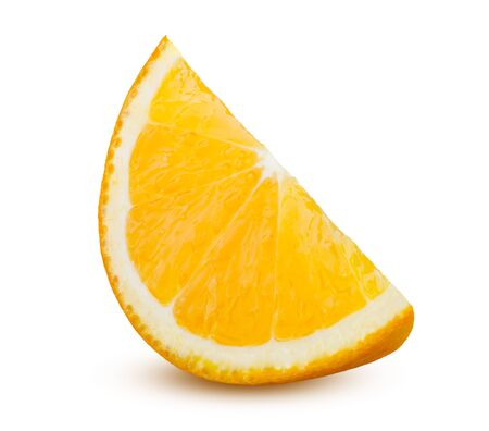 Orange Slice Isolated on White Background. Cut of Ripe and Tasty Citrus Fruit. Beautiful Shiny Sliced Orange Juicy and Fresh. Cooking, Healthy Food, Dieting and Vegetarian Concept