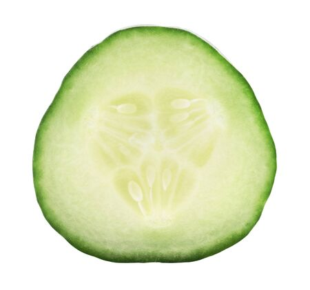 Cucumber slice isolated on white background. Fresh cut cucumber close up detailed fresh and juicy. Organic healthy food. Delicious sliced cucumber. Vegetable for nutrition and dieting concept Banque d'images