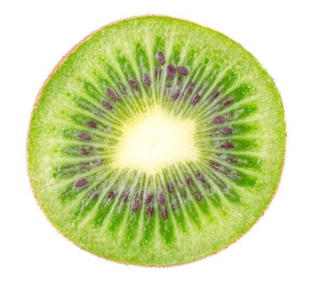 Kiwi slice isolated on white background. Ripe and delicious kiwi cut close up. Gourmet chopped kiwi, juicy and tasty. Healthy food, dieting and nutritious cooking concept Stock Photo