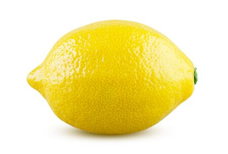 Lemon isolated on white background. Fresh and tasty lemon with shiny peel detailed close up. Juicy citrus fruit, bright yellow citron beautiful. Nutrition, dieting and vegetarian concept