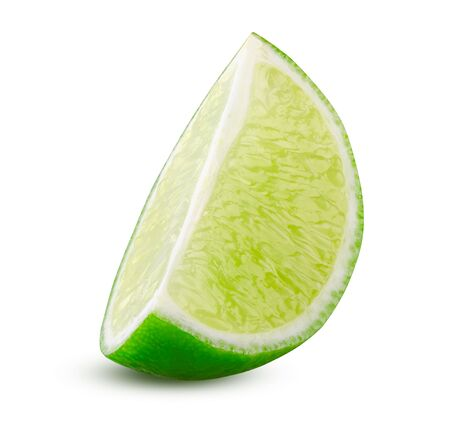 Lime slice. Green lemon lime cut closeup detailed on white background isolated. Tasty slice citrus fruit. Lime quater. Sliced lemon close up. Cooking and drinking concept