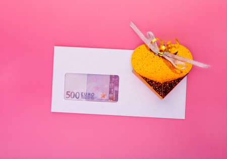Money ant gift box top view. Finance, black salary payment, bonuses for retirement, startup investment revenue and corruption in business concept