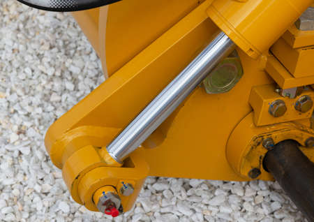 Detail of hydraulic bulldozer piston excavator arm