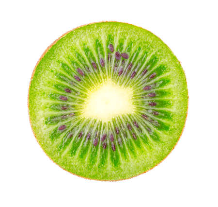 Excellent Kiwi slice isolated on white background. Ripe and delicious kiwi cut close up. Gourmet chopped kiwi, juicy and tasty. Healthy food, dieting and nutritious cooking concept Standard-Bild