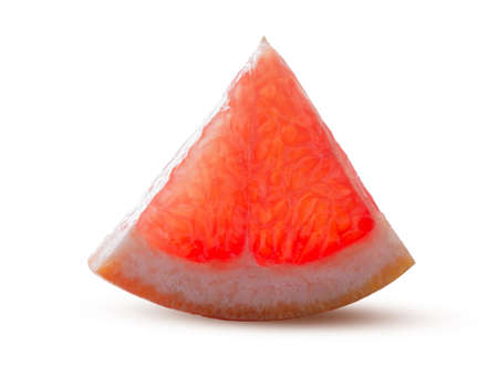 Sector of Round grapefruit slice Glowing from within Isolated on White Background. Perfectly retouched. This image has better resolution and quality, and full depth of field. Great dietary fruit concept.