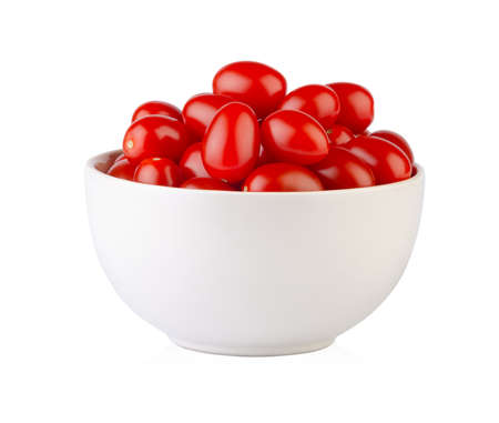 Fresh ripe cherry tomatoes in light bowl isolated on white background