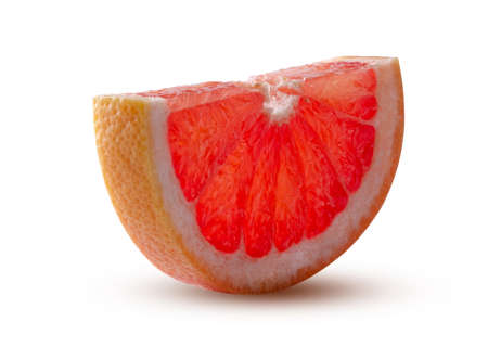 Half of Round grapefruit slice Glowing from within Isolated on White Background. Perfectly retouched. This image has better resolution and quality, and full depth of field. Great dietary fruit concept. Standard-Bild