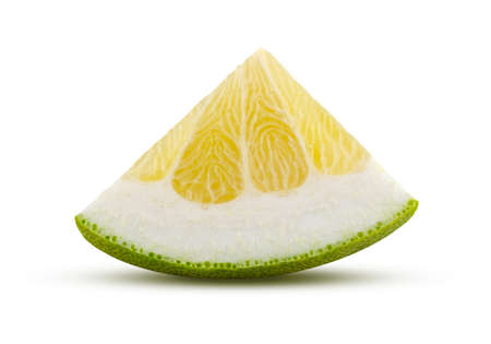 Triangular section of pomelo fruit isolated on white background. High quality retouching and full depth of field. Fruit and diet concept