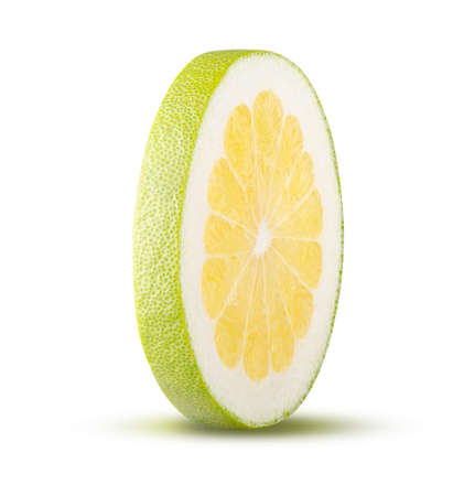 Round cut pomelo isolated on white background. High quality retouching and full depth of field. Fruit and diet concept