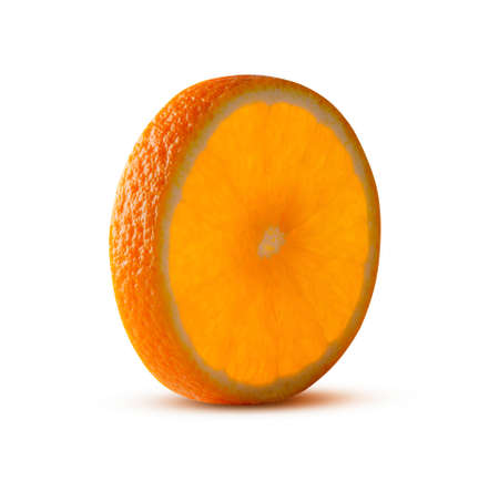 Round cut of orange, glowing from inside isolated on white. High resolution and full depth of field. Great fruit or juice concept