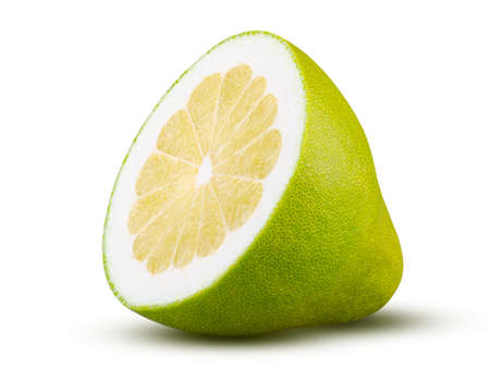 Half of pomelo fruit isolated on white background. High quality retouching and full depth of field. Fruit and diet concept