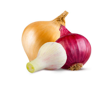 Culinary concept. Onion, onion and new fresh garlic isolated on white. High detail, excellent retouching
