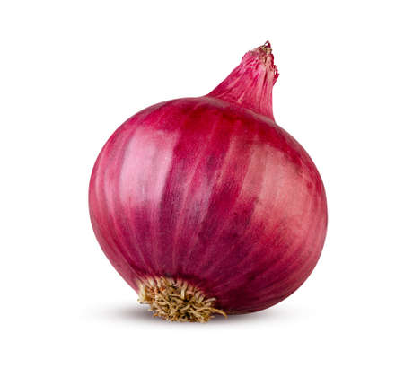 A whole red onion isolated on white. Lilac onion. High detail, excellent retouching Stock Photo