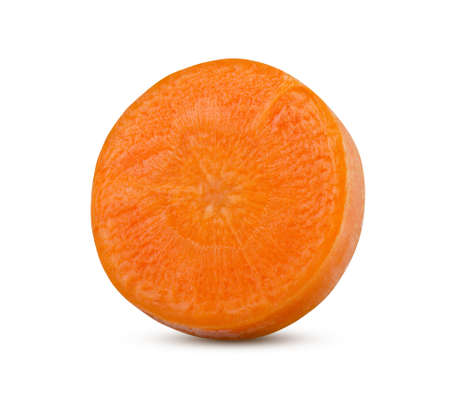 Round slice of carrot isolated on white. High resolution and full depth of field.
