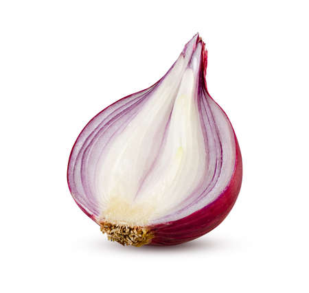 Half of red onion isolated on white. Lilac onion. High detail, excellent retouching