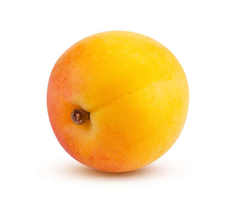 Perfectly retouched apricot isolated on white background. High quality and retouching