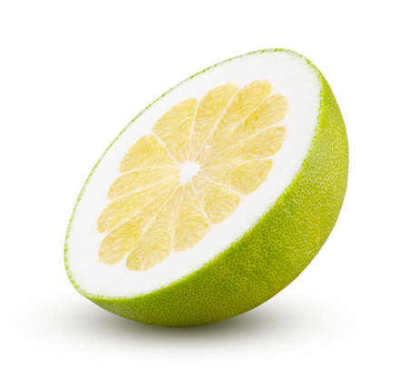 Perfectly retouched half of pomelo isolated on white background. Full depth of field and high resolution. Fruit and diet concept.