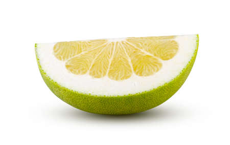 Perfectly retouched Quarter of pomelo isolated on white background. Full depth of field and high resolution. Fruit and diet concept.