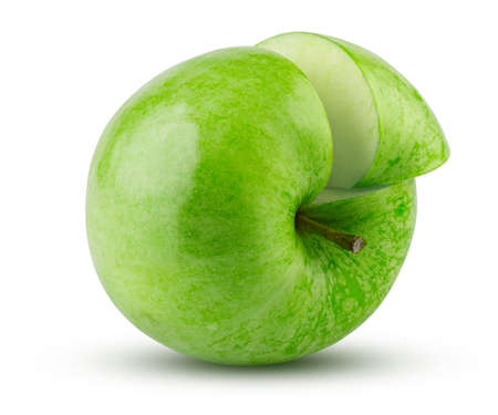 Green Apple Sliced Isolated on White Background. Highly Retouched Closeup. Full Depth of Field. Juicy Green Apple, Absolute Sharpness High Resolution Image Stock Photo