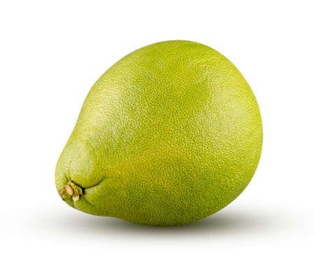 Perfectly retouched green pomelo isolated on white background. Full depth of field and high resolution. Fruit and diet concept. Stock Photo
