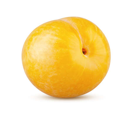 Perfectly retouched whole yellow plum isolated on white background. Full depth of field Stock Photo