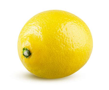 Perfectly retouched whole lemon isolated on white background.
