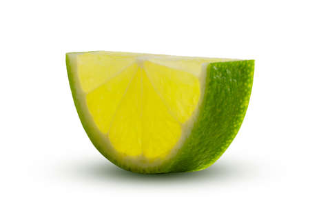 Half circle of lime slice Glowing from within. Green lemon lime cut closeup detailed on white background isolated. Tasty slice citrus fruit. Cooking or drinking concept.