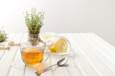 herbal teas with lemon and thyme on the garden table Standard-Bild