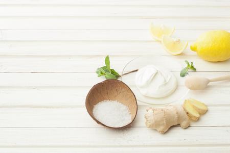 cosmetics homemade lemon, ginger, salt and essential oils