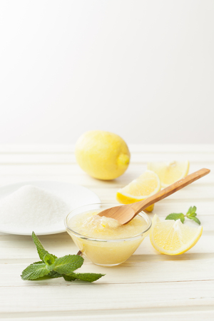 cosmetics homemade lemon, ginger, salt and essential oils