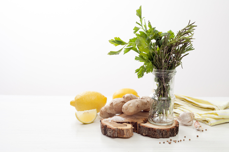 lemon and herbs in cooking and cosmetics