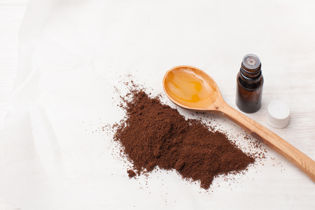 The ingredients for making homemade cosmetics. Place for text, background image.