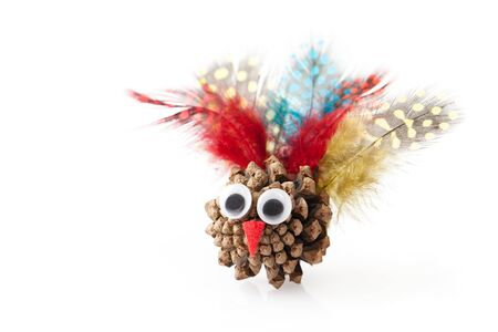 Crafts with the child for thanksgiving with natural materials: fir cone, feathers, felt. Place for text. 免版税图像