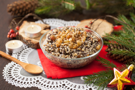 Kutya is a Christmas dish made of wheat grains, poppy seed, nuts, raisins and honey. Porridge, which began the celebration of Christmas. Stock fotó - 88591836