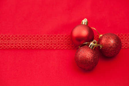 Christmas red background image with space for text insertion. Stock Photo