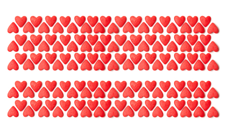 Happy Valentines day and weeding design elements. White background with pattern of hearts. The place to insert the text. Stock Photo
