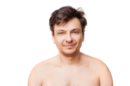 Portrait of 35-40 years old man with glasses on white background. Isolated. Copy space text.