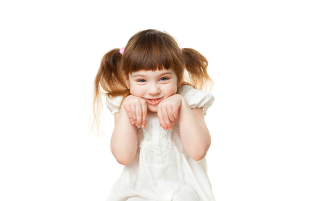 Authentic portrait of child on white background. Isolated. Copy space text.
