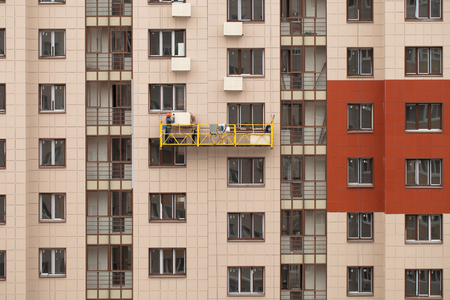 Installation work in the construction of a multi-storey residential building. Stok Fotoğraf