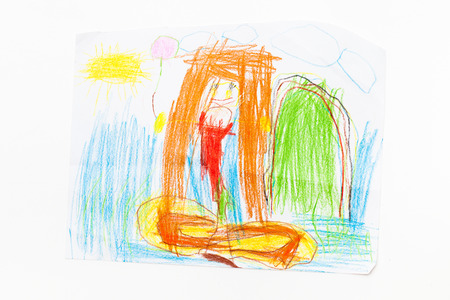 Childrens creativity on paper. Drawing with pencils. Stock Photo