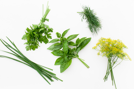 Spicy herbs on white for use in salads and marinades. Stock Photo
