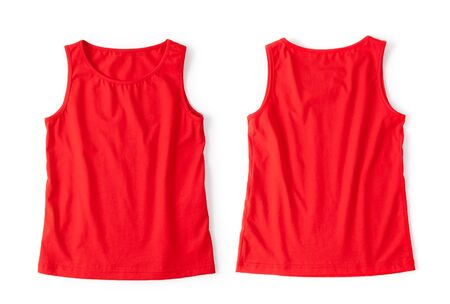 Red t-shirt unfolded on a white