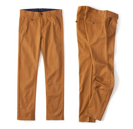 Denim cargo pants brick color laid out on a white