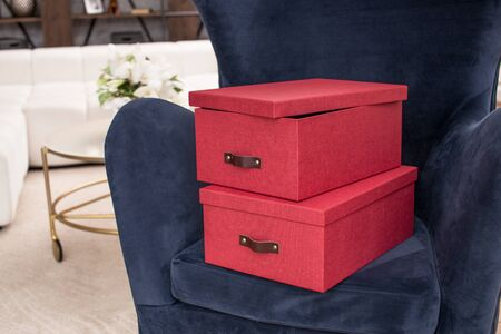 Boxes for storage in the interior of the apartment. Copy space text Reklamní fotografie