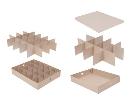 Inserts organizers for storage boxes isolated on white