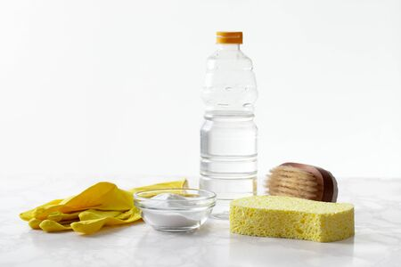 The concept of housework for cleaning kitchen utensils with eco-friendly food powder and vinegar. Copyspace text Stock Photo