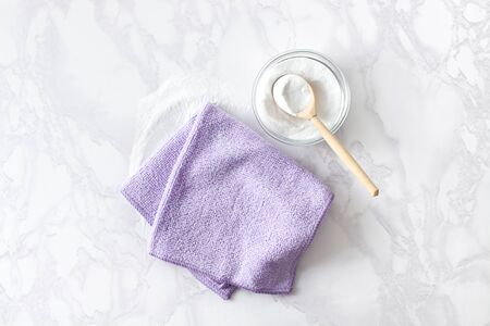 The concept of housework for cleaning kitchen utensils with eco-friendly food powder baking soda. Copyspace text